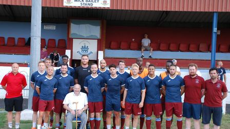 Mick Bailey with the Thetford Town FC first team. Picture: Thetford Town FC