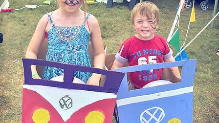 Kids in campervans made at VW Whitenoise Festival. Picture: Jon Large