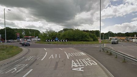 Fiveways Roundabout at Mildenhall. Picture: Google Maps
