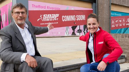Breckland Councillor Adrian Stasiak with Natalie Burnett, head ofoOperations from SNAP Fitness outsi