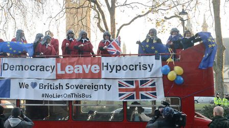 Protesters outside the Supreme Court in London.