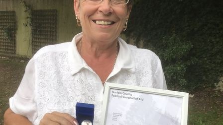 Joanne Simpson with her award from the Norfolk FA. Picture: Joanne Simpson