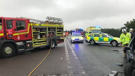 Emergency services at the crash on the B1106 at Elveden. Picture: Suffolk Fire and Rescue Service