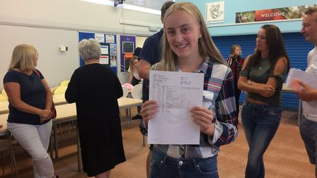 IES Breckland pupil Jasmine Brown said she was overwhelmed with her GCSE results. Picture: Rebecca
