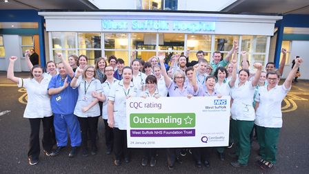 West Suffolk NHS Foundation Trust celebrating its outstanding rating from the CQC. Picture: GREGG BR