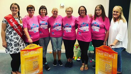 Pictured in pink are the ladies who took part in the charity event. From left: Miranda Currie, Kate