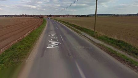 Hythe Road in Methwold, close to where the field fire is being tackled by fire crews. Picture: Googl