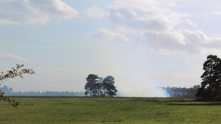 Smoke is rising from the fire and heading towards East Harling. Picture: Marc Betts