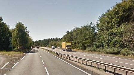 Police are appealing for witnesses following a crash on the A11 southbound at Thetford. Picture: Goo