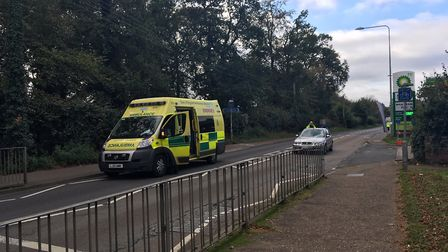 Emergency services at the scene of an accident on Norwich Road in Thetford. PHOTO: Conor Matchett