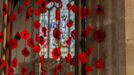 Poppies in St Peter's Church in Brandon. PHOTO: Terry Hawkins