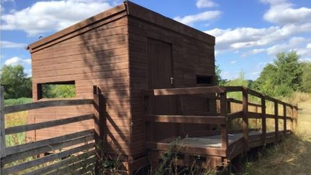 The exisiting bird hide at Nunnery Lakes reserve in Thetford next to which the planned viewing platf