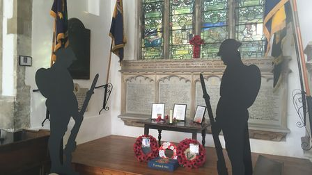 Remembrance display at St Peter and St Paul church in Swaffham. PHOTO: Sue Dent