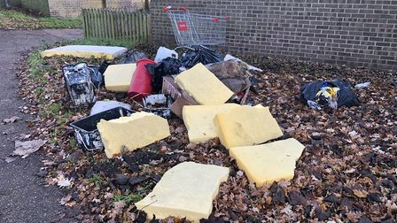 The dumped rubbish in Abbey Estate, Thetford. Picture: Terry Jermy