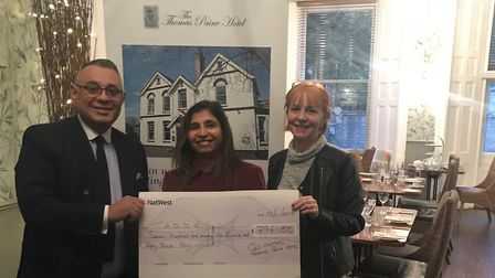 The Thomas Paine Hotel donated £796.50 to Thetford and District Dementia Support. Picture: Gez Cheta