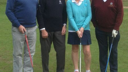 Pictured from left to right at Thetford Golf Club are Mike Horley, president Richard Goodenough, Mar
