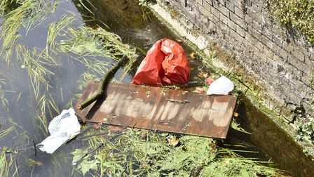 Rubbish in the river around Butten Island in Thetford which is being clean up as part of a new £14,0