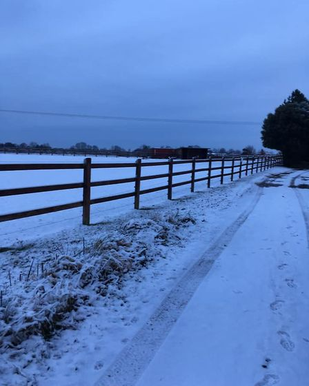 The fields in Stanton got a small covering of snow. Picture: Joy Hart