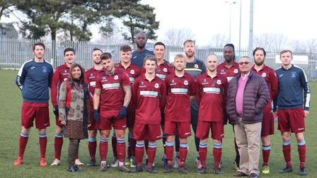 Thetford Town line-up for the camera before their excellent win over Norwich United at Mundford Road