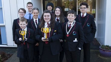 Pupils from Mildenhall College Academy celebrate their success at the Lego League. Picture: Daniel T