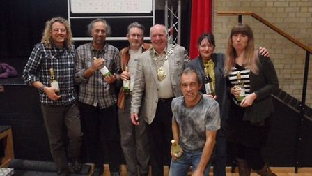 The winning quiz team with Thetford mayor, Roy Brame. Picture: Run Breckland