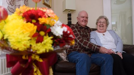 Irene and Mick Hills, both 81, celebrate their diamond wedding anniversary at their home in Thetford