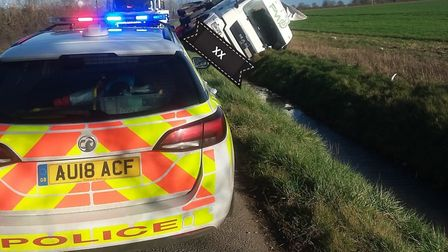 A lorry has fallen into a ditch near Thetford. Picture: Breckland Police
