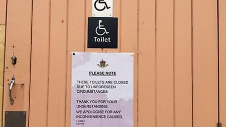 A sign on the toilets at Thetford bus and coach interchange says the toilets have been closed due to