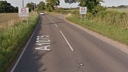 A motorcyclist has been killed in a crash on the A1075 at Wretham. Picture Google.