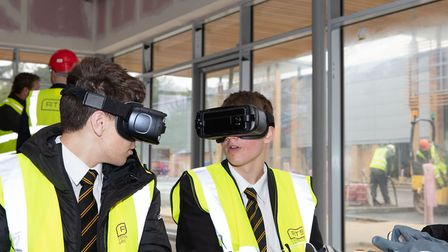 Thetford Grammar students saw how VR is changing the construction industry. Picture: RTS Constructio