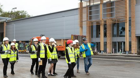 Students from Thetford Grammar taking a tour around Breckland Business Park. Picture: RTS Constructi
