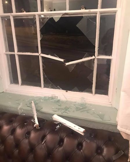 The Thomas Paine Hotel in Thetford had a window smashed in New Years Eve attack. Picture: Gez Chetal