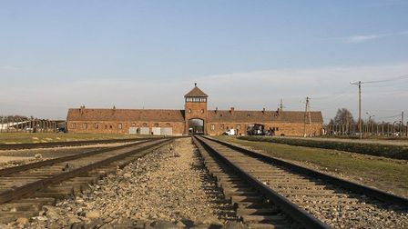 Auschwitz guardhouse and railway main entrance. Picture: Luca Chadwick
