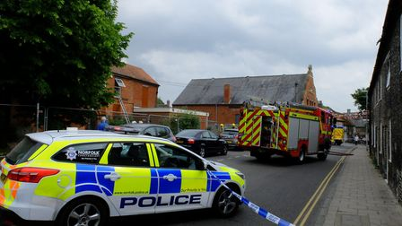 A fire at the former Cottage Hospital in Earls Street, Thetford. Picture: Archant