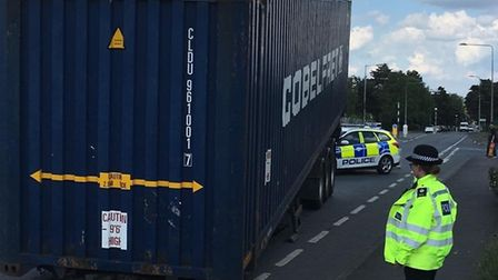 London Road is blocked in Thetford. Picture: Breckland Police