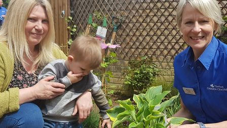 From left, Jenny Brown, Freddie and Thetford Garden Centre operations manager Marie Turner. Picture:
