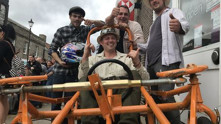 Entrants in the Thetford Soapbox Challenge with prizes for the fastest, best dressed and best kart.