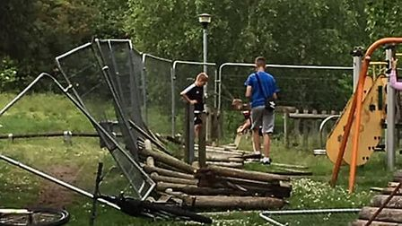 Youngsters were spotted knocking down protective fencing. Picture: Submitted