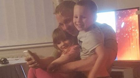 Luke Ware with his children Tyler and Ruby. Picture: Submitted