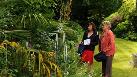 Visitors to Susie Dowling's garden during the Thetford Open Garden event. Photograph Simon Parker