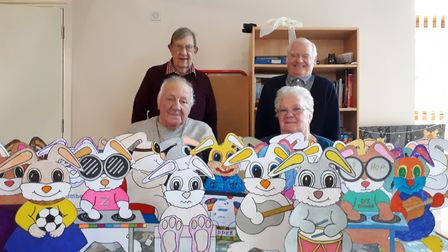 Members of the Brandon Day Centre who have helped colour in the rabbits for the Find the Rabbits com