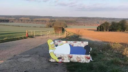 Homer Simpson can now be spotted reclining on a sofa on Cranwich Road near Thetford. PHOTO: Nathan S