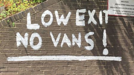 Graffiti warning drivers to take care has been daubed on the Abbey Farm low bridge in Thetford. Pict