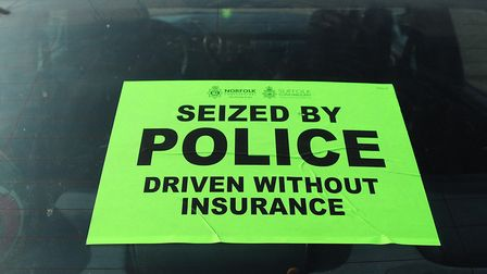 A sticker place on cars when it is seized Picture: Chris Bishop