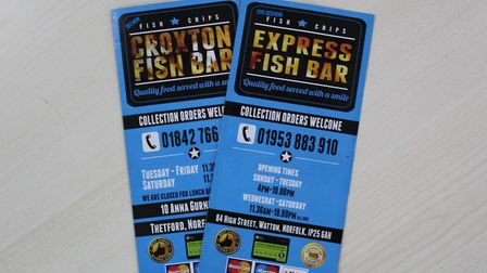 The two menus from Express Fish Bar, in Watton, and Croxton Fish Bar, in Thetford. Picture: Archant