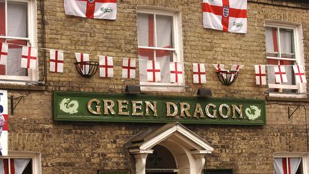 The Green Dragon public house in Thetford, festooned with England Football Team memorabillia in prep