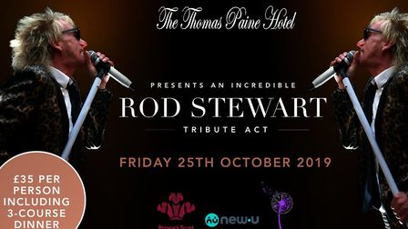 Thomas Paine Hotel's next charity dinner with Rod Stewart tribute act. Photo. Thomas Paine Hotel