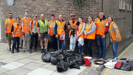Fathom's charity litter pick in Thetford town centre raising money for East Anglian's Air Ambulance