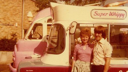 Brian Sanders and Ines Sanders with one of his first vans. Picture: Brian Sanders