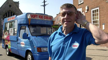 Brian Sanders listens to the chimes on his ice cream van at Thetford. Picture: Archant
